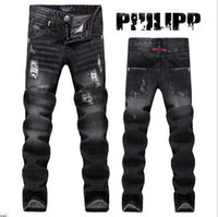 angle jeans - New skull designs famous brand fashion Classic Men slim jeans Denim mens trousers Worn patch small angle pants scratched jeans