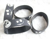 Wholesale 50 The Nightmare Before Christmas logo Wristband Silicone Bracelets Black