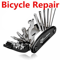 Wholesale 15 in Bicycle Repair Tool Sets Moutain Road Bike Repair Tools Multi Function Wrench Screwdriver Chain Cutter Sets