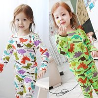 pajamas for children - 100 Cotton Made Pajamas Set For Children Boys Girls Colorful Dinosaur Printed Pullover Kids Casual Animals Pattern Long Pants E1730