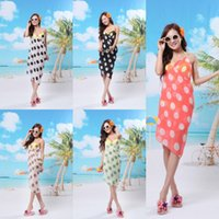 Wholesale Summer Beach Polka Dot Chiffon Sarong Sexy Fashion Swimwear Bikini Cover Up Dress Pareo Bikini Wrap Dresses Women Sarongs Cheapest