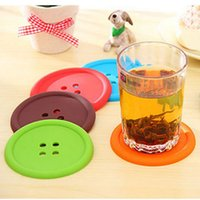 Wholesale New Arrival Round Silicone cup Coasters Home creative household supplies round silicone coasters cute button coasters Tea Cup mat