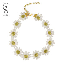 Wholesale Women Tattoo Choker Necklace Daisy Floral Milk Silk Flowers Necklaces For Summer Wear By Facotry
