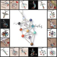 Wholesale different chakras pendant The tree of life Six pointed star The flower of life Kabbalah tree of life