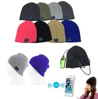 best bluetooth headphones microphone - Unisex Bluetooth Music Hat Soft Warm Beanie Cap with Stereo Headphone Headset Speaker Wireless Microphone for iphone s s Plus best price
