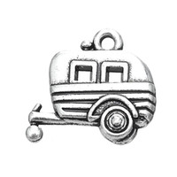 Wholesale 100pcs Camper Car Trailer DIY Charm Jewelry Antique Silver Plated For Necklace Or Bracelet