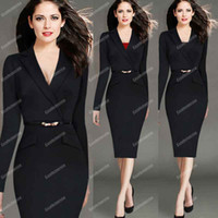 Wholesale Hot Sale autumn and winter Europe plus size new fashion women s dress long sleeved suit collar hot female cocktail dress