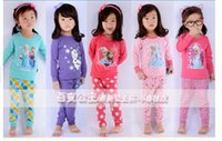 Wholesale New baby girls froze pajamas suits Christmas with children s wear Frozen pajamas Anna Elsa clothes for T top quality E2018