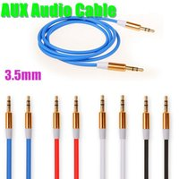Wholesale AUX Audio Cables Stereo Car Extension Auxiliary Adapter Male To Male m Speakers Connector For Samsung Galaxy S5 High Quality CAB081