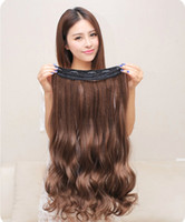 clip in one piece extensions - Five Clips In One Piece Strong Machine Weft Virgin Human Hair Clip In Hair Extensions Natural Wavy Curly Pre bonded Hair Extension