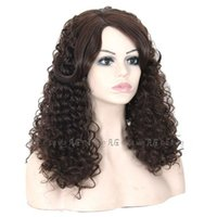 Wholesale Machine making Celebrity style Synthetic wigs loose body wave Hair Wig Natural black B color with side bangs pelucas black women full wigs