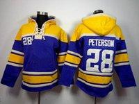 Wholesale American Football Hoodies Adrian Peterson Football Sweater Sports Wears Purple Pullover Hooded Sweatshirt Warm Outerwear Mix Order