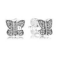 Wholesale 2015 Time limited Charms Animals New Collection Sterling Silver Butterfly Earrings Stud with Clear Cz Famous Brand Fine Jewelry Ce560