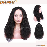 natural color african tie - High Quality Brazilian Virgin Human Hair Kinky Curl Black Dark Brown Natural Color Glueles Full Lace Wigs For African American Women
