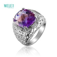 Wholesale Natural crystal semi precious stones amethyst ring silver jewelry rings fashion women jewelry atmosphere