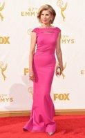 Wholesale 2015 th Emmy Awards Christine Baranski Mermaid Evening Gowns Fuchsia Satin Sexy Mothers Prom Party Celebrity Dresses