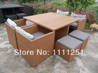 dining table and chair - NEW Wicker Outdoor Furniture Setting Garden Deck BBQ Dining Table and Chairs