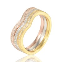 24k gold rose - 2015 sterling silver Trinity crystal rose gold rings with k gold plated for women fit European style No80 RIPY030