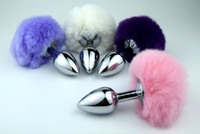tail plug - Small Size Metal Rabbit Tail Anal Plug bunny Color Butt Plug Metal Booty Beads Stainless Sex products