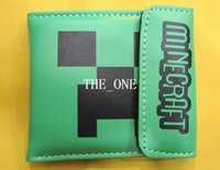 Wholesale 9 cm Creeper Wallet PU Leather Purse Card Changes Bags for Minecraft Unisex Green Cartoon Wallets Good Quality Children Kids Gift