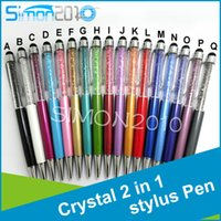 Pens crystal ball wholesale - 2 in stylus Pen Bling Diamond Crystal Touch Screen Rhinestones Capacitive Stylus Ball Pen For Mobile Phone PC Tablet iPad