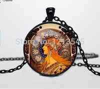 alphonse mucha art - Alphonse Mucha art picture glass pendant black necklaces jewelry personality round dome charms necklaces for women CN533