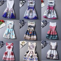 european fashion dress - 23 Style Choice Girls Best Sale Summer Dresses New Fashion European and American Style Floral Printing Vest Dress Lady New Dresses