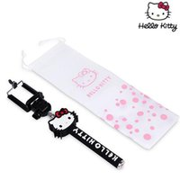 Wholesale Cute Hello kitty Extendable Monopod Selfie Self Portraits Tripods Universal Wireless Remote Shutter For Smart Phone new hot