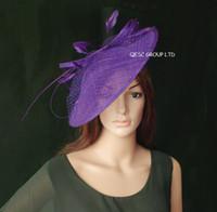 sinamay hat - Purple large saucer Sinamay Fascinator hat
