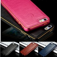 iphone 5s - Hot Luxury Aluminum Metal Frame Leather Back Case Cover For apple iPhone s PLUS s