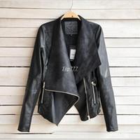 Precio de Leather jackets-2016 PU chaqueta de cuero de las mujeres ropa de imitación de vuelta-Abajo Collor femeninas chaquetas para mujer delgada Abrigos Plus Size Feminino Mujer Prendas de abrigo