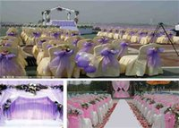Wholesale A Back Bow Chair Yarn Ribbon The Wedding Cair Bw Organza Chair Sash Bow Satin Table Runner Wedding Anniversary Party Decoration Of Chair