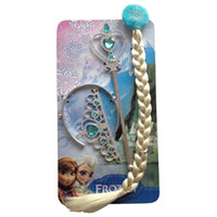 Wholesale 2015 Frozen crown wig wand Queen Princess Aisha headband magic wand best festival gift a set crown and headband pigtails magic band