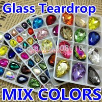 Wholesale Mix Colors Teardrop Glass Crystal Fancy Stones Mixed x14mm x18mm x25mm x30mm For Jewelry Making DIY Decoration