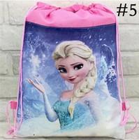 Wholesale Frozen Backpack Drawstring bags Children s backpack frozen princess doll Children Backpacks Printed School Bags For Girl Non woven Bag