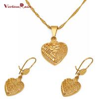 Bracelet,Earrings & Necklace african jewelry set - Westernrain Gold K Heart Pendant Necklace wedding jewelry Women s K Gold Earring Hollow Design Jewelry Set G656