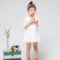 Wholesale spring and fall children princess dress girls half sleeve full lace party dress kids Boutique clothing white red pink T