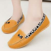 comfortable formal shoes - 2015 spring and summer Leopard print patchwork bow shoes shallow mouth flat heel comfortable formal Moccasins