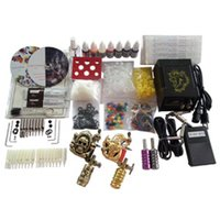 Wholesale Basekey Tattoo Kit K203 Guns Machine With Power Supply Grips Back Stem Tube Color Ink Cups Needles