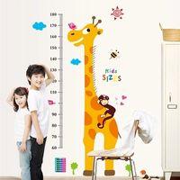 Libere la decoración animal del hogar de la etiqueta engomada de la pared de la carta de la altura del crecimiento de la altura de los niños del bebé de la llegada