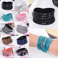 Wholesale New Arrivals Unisex Wristband Bracelets Punk Crystal Charm Chain Fashion Multilayer Wrap PU Leather IX256