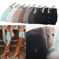 Wholesale 8 colors NEW Fashion Ladies Crochet Boot Cuff Button Lace Knit Leg Warmer Boot Socks Knee Hosiery Girls Legging Frozen