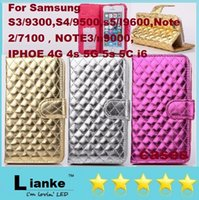 galaxy note 3 phone - Checkered Sheep Leather Wallet Case Cover with For Galaxy S5 S4 S3 Note iphoe G s G s C i6 Mobile Phone Cases dhl free