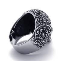 Wholesale Fashion Flower Skull Ring Hot Gothic Black Poker Skull Party Ring Rock Biker Stainless Steel Jewelry Gift