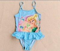 Cheap Free shipping! whosale Baby Girl the tinkbell fairies princess swimwear blue color skirt cute Swimsuit bathing suit kids Beachwear