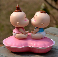 baby kissing - KISS BABY Solar Energy Doll Shake Head Doll for car for gift retail blue and red color