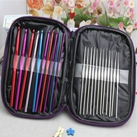 Wholesale 1 Set High Qyuality Multicolour Aluminum Crochet Hook Knitting Needles Set Weave Craft Yarn Stitches