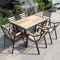 plastic tables and chairs - Balcony patio outdoor furniture leisure furniture wood chairs round a long table and chairs combination of teak wrought iron ch