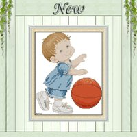 basketball cross stitch - A basketball baby painting counted printed on canvas DMC CT CT NKF Cross Stitch chinese diy Embroidery kits Needlework Sets