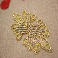 ab patches - Rhinestone Applique pieces Fashion Clear gold AB for Holiday decoration wedding dress gowns headwear DIY wedding decoration